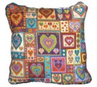 Little Hearts Patchwork Tapestry Cushion