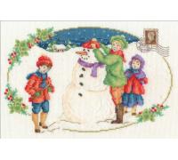 Vintage Christmas Building a Snowman