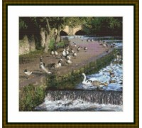 Geese on the River at Bakewell - Chart or Kit