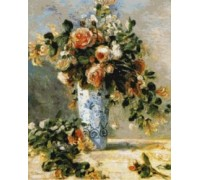Roses and Jasmine in Delft Vase - Chart or Kit