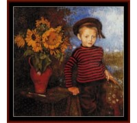 Boy With Sunflowers Chart or Kit