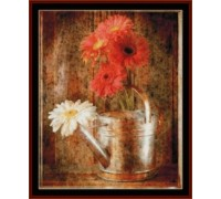Gerbera Daisies in Watering Can - Chart or Kit