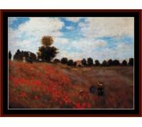 Poppy Field by Monet - Chart or Kit