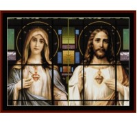 Stained Glass Sacred Hearts - Chart or Kit