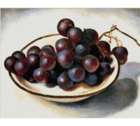 Grapes on a White Dish Chart or Kit
