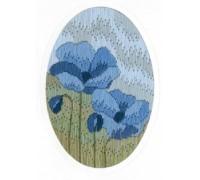 Blue Poppy Long Stitch Card - CDG22