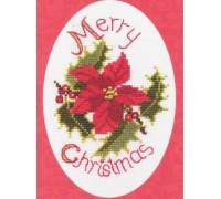 Poinsettia and Holly Christmas Card Kit - CDX31