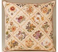 Autumn Flower Trellis Embroidery Cushion - E163