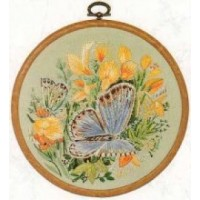Common Blue Butterfly Embroidery - E154