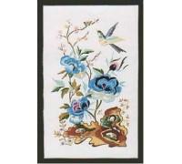 Oriental Blue Peony Embroidery - E153
