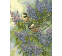 Chickadees and Lilacs - D35258