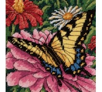 Butterfly on Zinnia Mini Tapestry - D07232