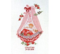 Baby Girl Cradle Birth Sampler - 14-430C - 26ct