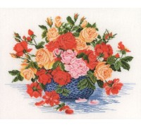 Blue Bowl with Roses - 14-260C - 26ct
