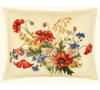 Cornflowers and Poppies Cross Stitch Cushion - 42-325F - 25ct