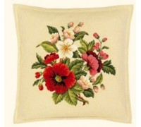 Poppies and Wild Rose Cross Stitch Cushion - 42-360FF - 25ct