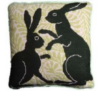 Green Boxing Hares Tapestry