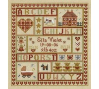 Sugar and Spice Patchwork Birth Sampler
