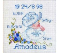Baby Boy and Cap Birth Sampler - 12-9704 - 14ct