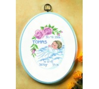 Baby Boy and Roses Birth Sampler - 12-6724 - 14ct