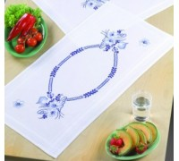 Blue and White Floral Table Runner - 63-6654