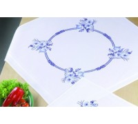 Blue and White Floral Tablecloth - 27-6654