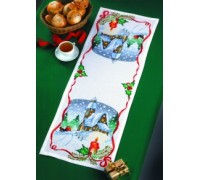Christmas Snow Scene Table Runner - 68-4295 - 11ct
