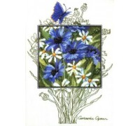 Cornflowers and Daisies Portrait - 90-5363 - 14ct