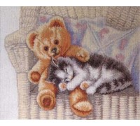 Teddy Bear and Kitten - 70-2401 - 26ct