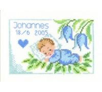 Little Blue Heart Birth Sampler - 12-4720 - 14ct