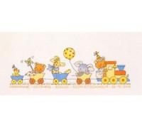 Happy Friends Train Birth Sampler - 12-2421 - 16ct