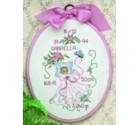 Pink Floral Birth Sampler - 12-4824 - 14ct