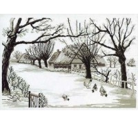 Sepia Farmhouse Scene - 70-3128 - 16ct