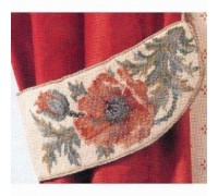 Green or Cream Poppy Tapestry Tiebacks - Pair