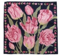Navy China Tulips Tapestry