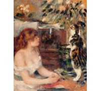 Young Woman with Cat by Pierre Auguste Renoir