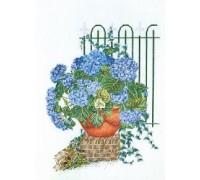 Blue Hydrangea Pot