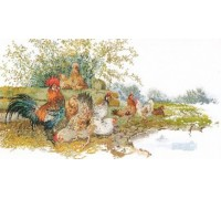 Cockerel and Hens Scene