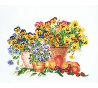 Pansy Pots Cross Stitch