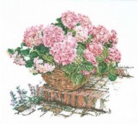 Pink Hortensia Cross Stitch