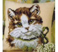 Kitten in a Green Bow Chunky Cross Stitch - 1200/690