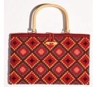 Red Geometric Chunky Cross Stitch Handbag - 1221/6602