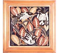 William de Morgan Magpies with Pink Leaves Tapestry