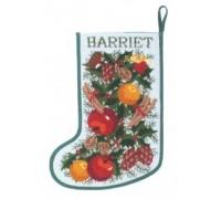 White Garland Christmas Stocking - GSW